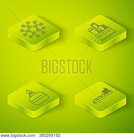 Set Isometric Oil Industrial Factory Building, Alcohol Or Spirit Burner, Oil Tanker Ship And Molecul