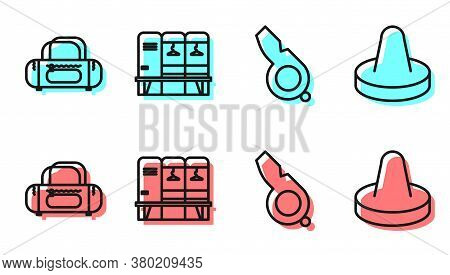 Set Line Whistle, Sport Bag, Locker Or Changing Room And Mallet For Playing Air Hockey Icon. Vector
