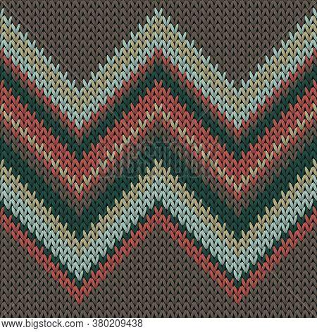 Jersey Zig Zal Lines Knitted Texture Geometric Seamless Pattern. Jacquard Knitwear Fabric Print. Nor