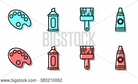 Set Line Paint Brush, Palette, Marker Pen And Tube With Paint Palette Icon. Vector