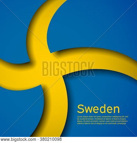 Background With Flag Of Sweden. State Swedish Patriotic Banner, Flyer. National Poster Design Of Swe