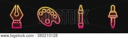 Set Line Wax Crayons For Drawing, Fountain Pen Nib, Palette And Pipette. Glowing Neon Icon. Vector