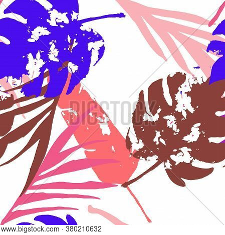 Palm, Banana Leaves Vector Seamless Pattern, Blue Pink Purple Indigo Floral Textile. Brushed Jungle