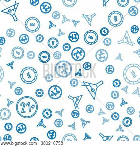 Set Line 21 Plus, Martini Glass And Casino Chips On Seamless Pattern. Vector