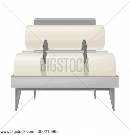 Paper Production With Raw Material Calendering And Rolling Into Rolls Vector Illustration