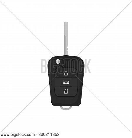 Modern Key For Car. Alarm Remote Control. Auto Lock Security Key Vector Illustration. Realistic Auto