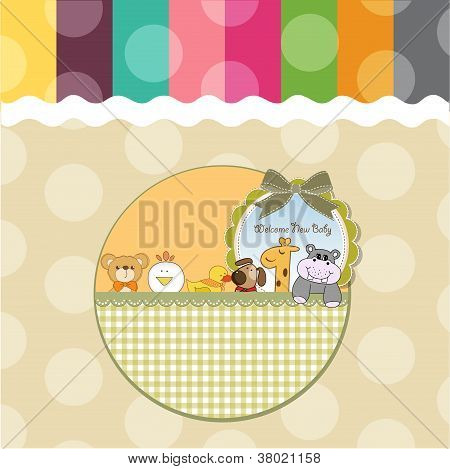 baby shower card with funny animals cartoon poster