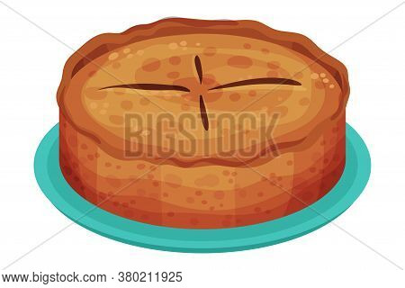 Sweet Homemade Pie With Fruit Filling And Crust Made Of Shortcrust Pastry Vector Illustration