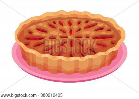 Baked Sweet Pie With Filling And Crust Made Of Shortcrust Pastry Vector Illustration