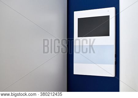 Video Intercom On Wall. Video Door Phone. Modern Minimalistic Sensor Panel. Security Safety System I