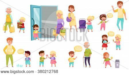 Little Boy And Girl Sharing Treats And Yielding Seat Vector Illustration Set