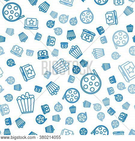 Set Line Popcorn In Box, Film Reel And Laptop With Star On Seamless Pattern. Vector