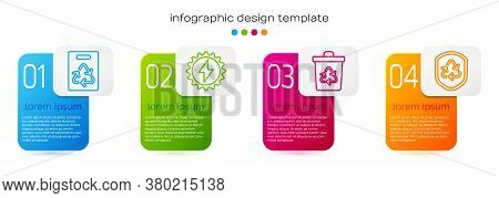 Set Line Paper Bag With Recycle, Solar Energy Panel, Recycle Bin With Recycle And Recycle Symbol Ins
