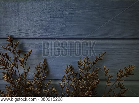 Vintage Empty Space Background, Old Blue Painted Wood Plank With Golden And Brown Dried Plants Decor