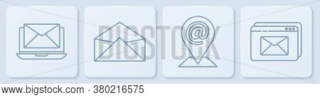 Set Line Laptop With Envelope, Location And Mail And E-mail, Envelope And Website And Envelope. Whit