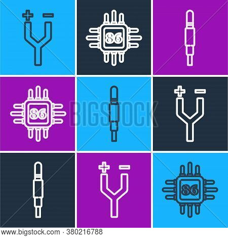 Set Line Electric Cable, Audio Jack And Processor With Microcircuits Cpu Icon. Vector