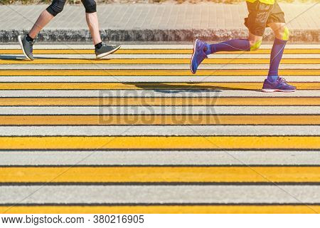 Man Running Crosswalk, Copy Space. Athletic Man Jogging In Sportswear On City Road. Healthy Lifestyl