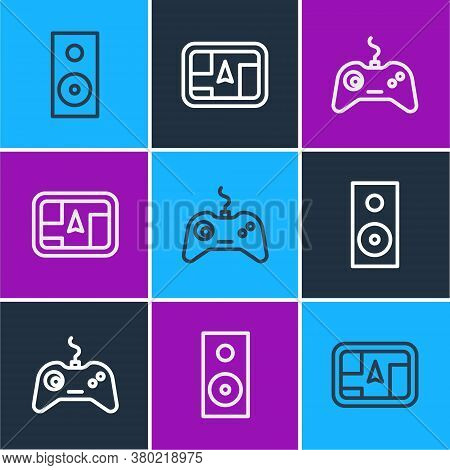 Set Line Stereo Speaker, Gamepad And Gps Device With Map Icon. Vector