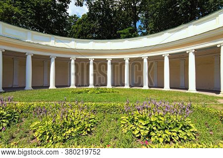 Wide-angle Landscape View Of Decorative Architectural Building Called Echo Colonnade On A Sunny Summ