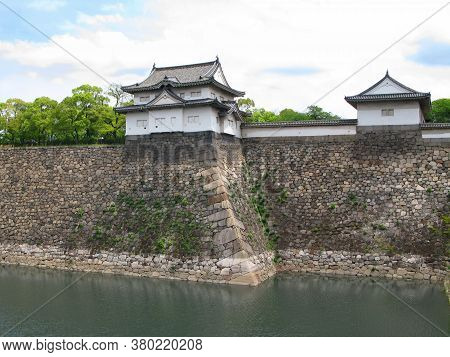 Osaka, Kansai Region, Japan - May 03, 2009: View Of Turrets On Outer Wall Of The Famous Osaka Castle