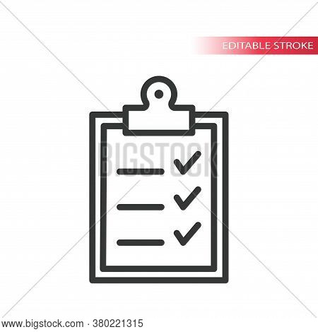 Office Clipboard With Checklist Line Vector Icon. Tick Mark, Checklist On A Clipboard Simple Outline