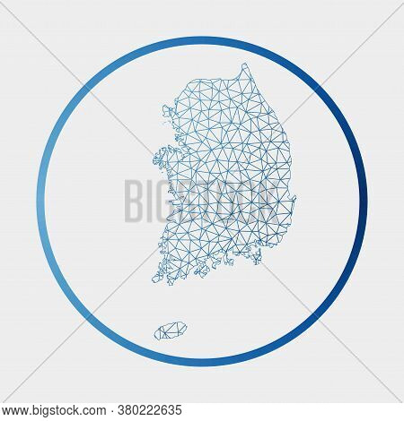 South Korea Icon. Network Map Of The Country. Round South Korea Sign With Gradient Ring. Technology,