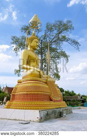 Big Buddha Statues And Trees Under The Blue Sky In Thailand