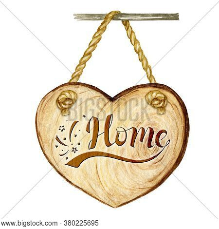 Watercolor Wooden Heart Signboard With Lettering Word Home, Empty Blank Isolated. Vintage Old, Retro