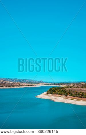 a view of the Mequinenza Reservoir, in the Ebro river, also known as Mar de Aragon, Sea of Aragon, in the Zaragoza province, Spain, on a clear summer day