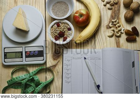 The Concept Of Diet Food, Weight Control, Calorie Intake Amount. Healthy Food, Healthy Lifestyle, Li