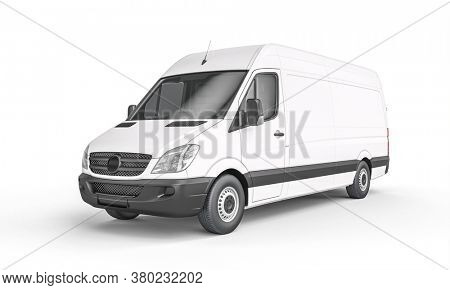 white cargo van on a white background. Logistics and shipping industry concept. 3d render.