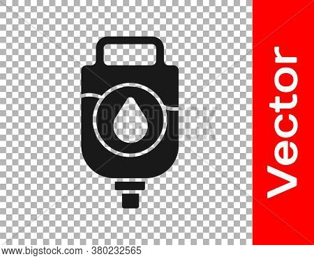 Black Iv Bag Icon Isolated On Transparent Background. Blood Bag. Donate Blood Concept. The Concept O