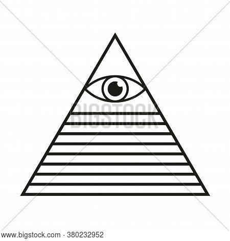 All Seeing Eye Pyramid Illuminati Symbol Isolated Vector Illustration