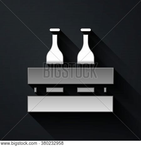 Silver Pack Of Beer Bottles Icon Isolated On Black Background. Wooden Box And Beer Bottles. Case Cra
