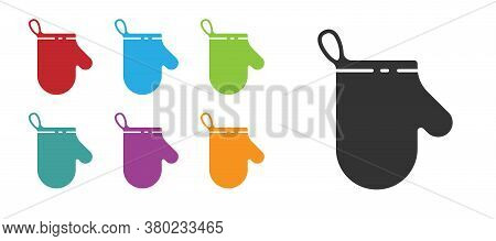 Black Oven Glove Icon Isolated On White Background. Kitchen Potholder Sign. Cooking Glove. Set Icons