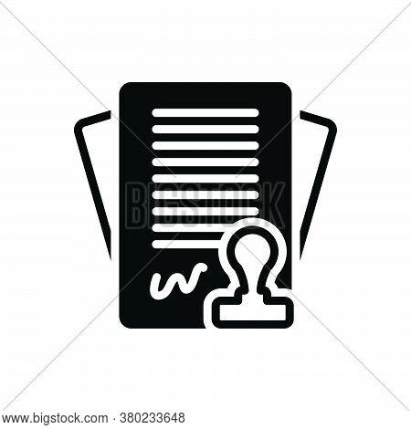 Black Solid Icon For Contract Settlement Bond Annexure Appendage Pledge Bargain Stipulation Invoice