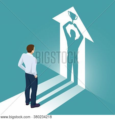 Isometric Businessman Watches His Shadow And Contemplating About Victory. Emancipation, Ambition, Su
