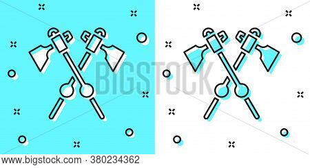 Black Line Crossed Medieval Axes Icon Isolated On Green And White Background. Battle Axe, Executione
