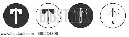 Black Medieval Axe Icon Isolated On White Background. Battle Axe, Executioner Axe. Medieval Weapon.
