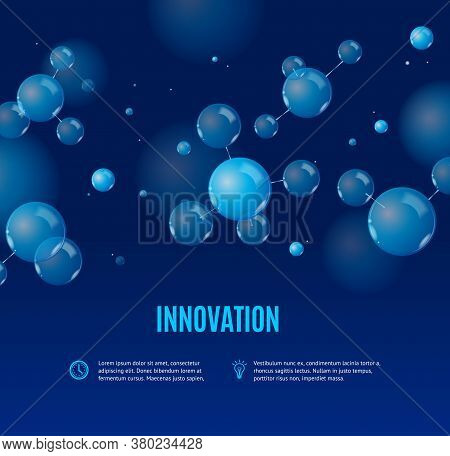 Realistic Detailed 3d Molecule And Innovation Medicine Banner Microbiology Concept Ad Poster Card. V