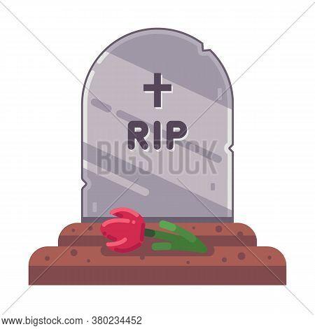 Fresh Christian Grave On A White Background. Flat Vector Illustration.
