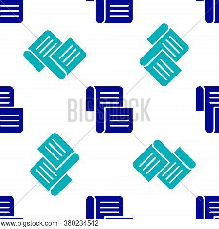 Blue Decree, Paper, Parchment, Scroll Icon Icon Isolated Seamless Pattern On White Background. Vecto