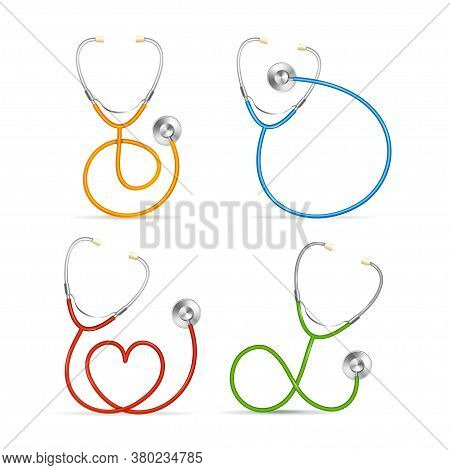 Realistic Detailed 3d Color Stethoscope Set Symbol Of Cardiac Check On A White. Vector Illustration