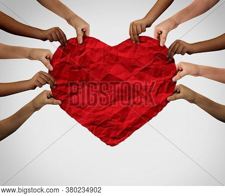 Unity Love Together And Diversity Partnership As Heart Hands In A Group Of Diverse People Holding A