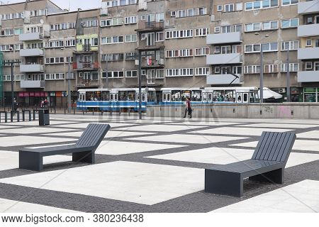 Wroclaw, Poland - May 11, 2018: People Visit Nowy Targ Square In Wroclaw, Poland. The Square Has Bee