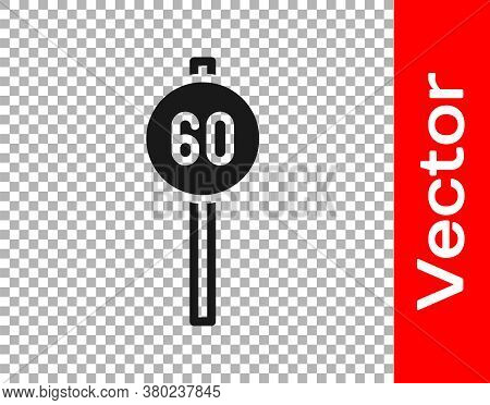 Black Speed Limit Traffic Sign 60 Km Icon Isolated On Transparent Background. Vector