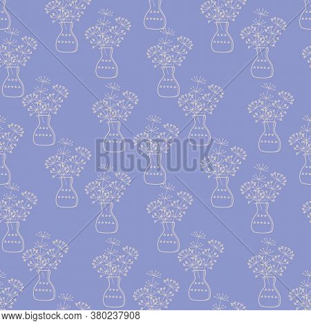 Meadow Plants In A Vase.seamless Pattern. Branches And Jug, Hand Drawn Outline. Vector Illustratin