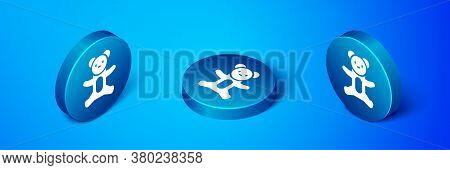 Isometric Teddy Bear Plush Toy Icon Isolated On Blue Background. Blue Circle Button. Vector