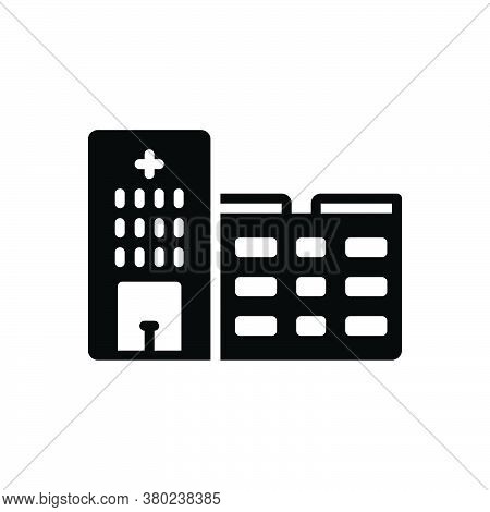 Black Solid Icon For Hospital Clinic Emergency-room Hospice Institution Nursing-home Ward Infirmary