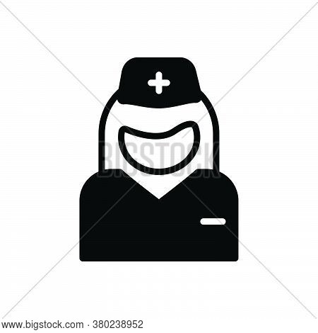 Black Solid Icon For Nurse Assistant Attendant Medic Therapist Caretaker Practitioner Pharmaceutical